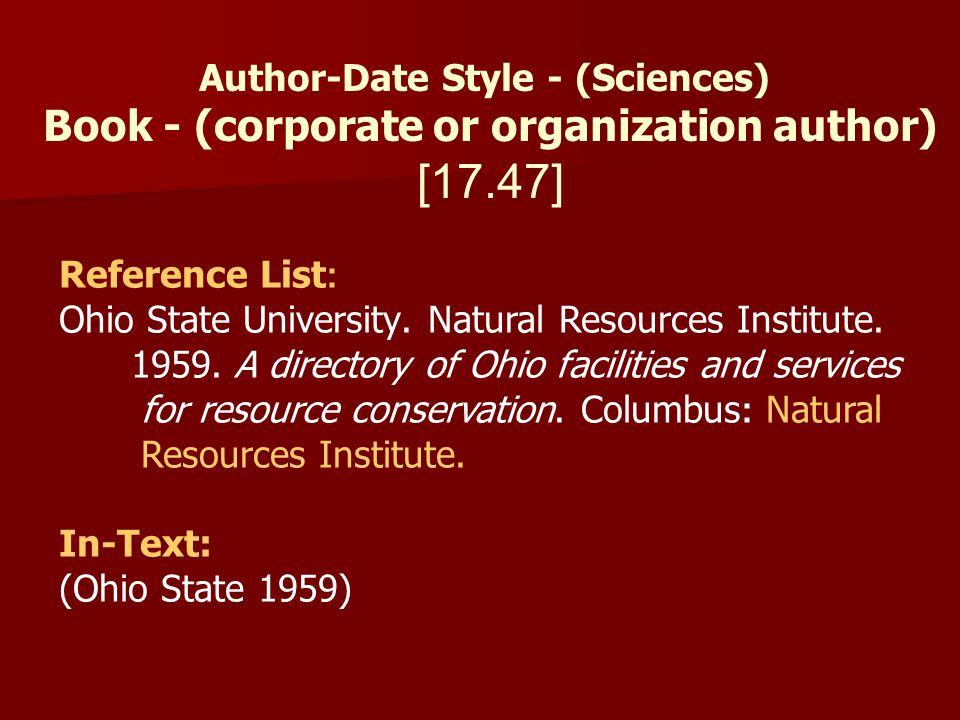 [17.47] Book - (corporate or organization author)